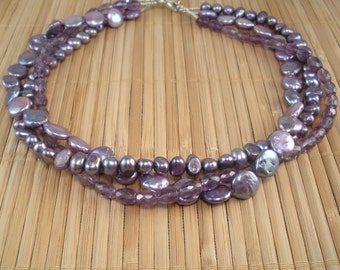Amethyst Purple Pearl 3 Strand Necklace Amethyst Multistrand Purple Amethyst Torsade Twisted Strands Birthstone Gemstone Necklace Bridal
