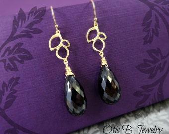 Black Spinel Teardrop Earrings, Long gold earrings, Black earrings, black garnet, special occasion, otis b jewelry