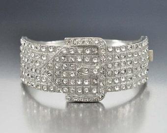 Art Deco Bracelet, Silver Buckle Rhinestone Bracelet, Wide Cuff Bracelet Vintage 1920s Wedding Bracelet Art Deco Jewelry, Rhinestone Jewelry