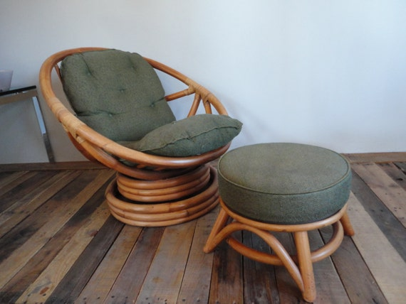 Low rider swivel rattan chair with ottoman vintage 60s 70s mid for Vintage 70s chair