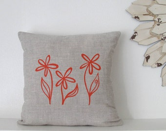 Pillow Cover Cushion Cover Flower Trio 16 x 16 inches - Choose your fabric and ink color - Accent Pillow