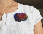 Bicycle decor, needlefelted organic brooch, Dutch bike, Waldorf decoration, pin, red and lavender, green and blue, purple, brooch for girl