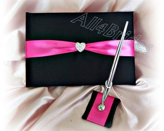 Wedding guest book and pen, black and hot pink guest book with heart charms accent.  Wedding decorations.