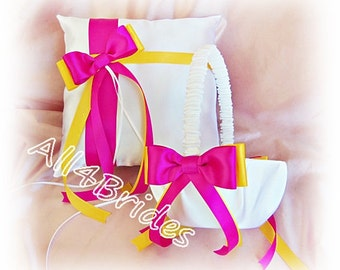 Wedding Pillow Basket - Yellow and Azalea - Flower Girl Basket - Ring Bearer Pillow - Wedding Ceremony Decor