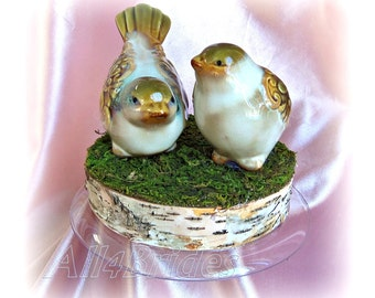 Cake Topper. Rustic Love Birds Wedding Cake Topper,  natural birch log bird cake topper. READY TO SHIP