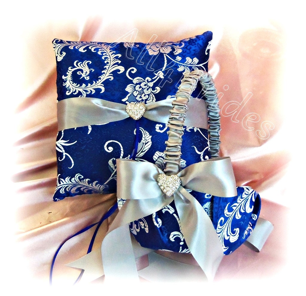 royal blue and silver grey wedding ring pillow and by all4brides. Black Bedroom Furniture Sets. Home Design Ideas