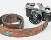 Eco Leather Camera Strap Applique Distressed Recycled Brown Leather