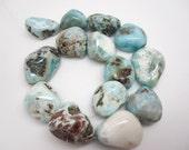 Larimar Beads, Natural Larimar, Dominican Larimar, Larimar Nuggets, Blue Gemstone, SKU 4369A