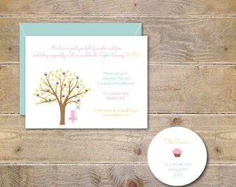 First Birthday Invitations . Cupcake Invitations . Silhouette . Girl . Birthday Invitations . Second Birthday - Sweet Cupcake Tree