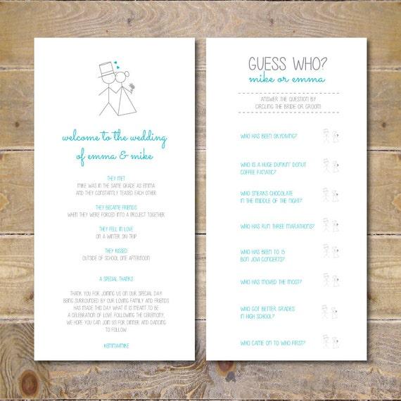 Informal Wedding Ceremony Ideas: Items Similar To Wedding Programs, Ceremony Program, Games