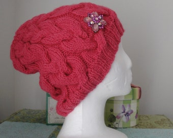 Bright Pink Cable Hat w/rhinestone brooch
