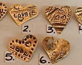 Copper Heart Pins, Copper Heart Brooches. Valentines Heart Gifts.