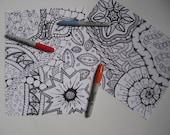 Instant Download Doodle Coloring Pages - 5 Printable Designs  - Set 5