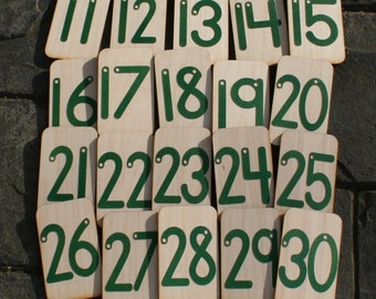 """Sandpaper Numbers 11-30 mounted on 3""""x5"""" birch"""