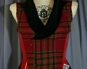 The Dueler's Steampunk Corset vest with exposed offset Busk and notched shawl collar CUSTOM