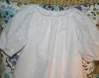 Handmade Long sleeve embroidered Baptism Dress   Available newborn to 12 months.