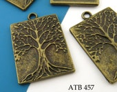 Large Tree of Life Rectangle Charm Antique Brass Tree of Life Pendant Antique Gold 32mm (ATB 457) blueecho 3 pcs