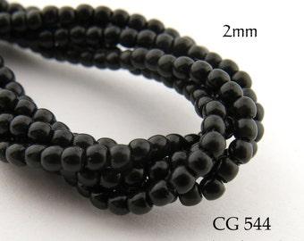 Tiny 2mm Czech Glass Pearls Black Round (CG 544) 50pcs BlueEchoBeads