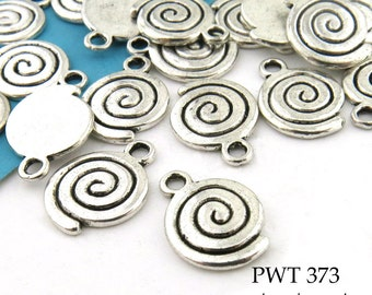 11mm Pewter Spiral Charms, Antique Silver (PWT 373) 10 pcs BlueEchoBeads