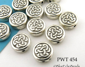 10mm Celtic Knot Coin Pewter Bead Rodium Plated Antique Silver (PWT 454) 10 pcs BlueEchoBeads