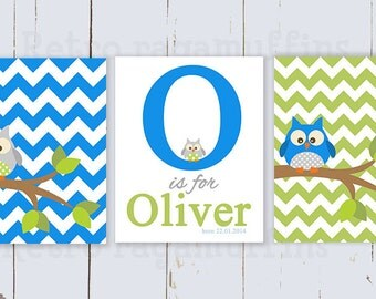 Owl Chevron Nursery Art  Print Various Sizes  Personalized Boys Room Decor
