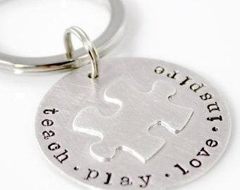 Puzzle Piece Keychain -  sterling silver keychain - can be personalized