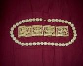 Antique Carved Bone Jewelry Rose Beads Asian Charm Segments Bracelet Necklace Bovine