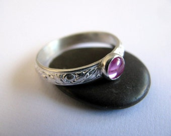 Sterling Silver Pink Sapphire Ring, Sapphire Stacking Ring, Floral Ring Band