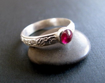 Ruby Ring Sterling Silver, Red Gemstone Ring, Handmade Sterling Silver Ruby Ring