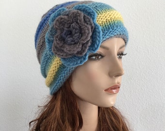 Hand knit wool hat multi-color woman hat crochet flower