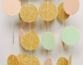 "Gold Glitter Garland, Wedding Garland, Wedding Decoration, Gold Wedding, Party Decor, ,Bridal Shower, Glitter Garland, 1 1/2 "" Circles"