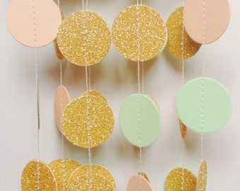 "Gold Glitter Garland, Wedding Garland, Glitter Garland, Gold Wedding, Party Decor, Bridle Shower, Glitter Wedding Decoration, 1"" Circles"