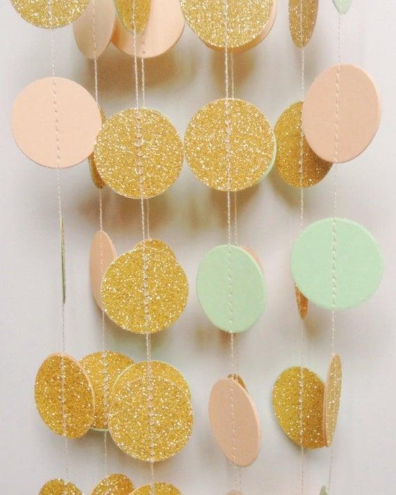 "Gold Glitter Garland, Wedding Garland, Glitter Garland, Gold Wedding, Party Decor, Bridle Shower, Glitter Wedding Decoration, 1"" Circles"