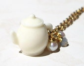 Miniature Cream Teapot Necklace - I'm a little Teapot - Alice in Wonderland Teaparty