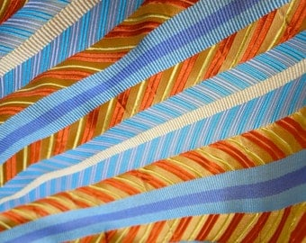 Tie Silk Fabric - Pure Silk Brocade - Stripes Striped - Blue and Gold