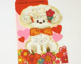 Vintage Valentine Day Card Unused Grandparents, Dog Valentine, Grandparents Card, Retro Valentine Card