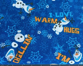 Disney Frozen Olaf Chillin Snowflake Blue Cotton Woven fabric by the yard