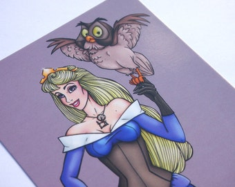 Steampunk Aurora Sleeping Beauty Blue Postcard by Hungry Designs