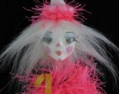 CLERISE A CLOWN, On Sale paper clay ball jointed puppet doll, handmade in the USA