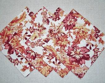 SALE - Autumn Floral Cotton Cloth Dinner Napkins, Set of 4 Napkins, Eco Friendly, Re-usable Cloth Napkins, Ready to Ship