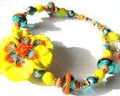 Lampwork Glass Flower Bracelet, Yellow Orange Teal Statement Bracelet, Gold Filled Bracelet, GIFT For Her, Ready To Ship