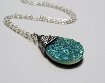 Sparkly Bright Teal Coated Druzy Necklace