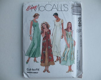 Sewing pattern, UNCUT McCall's 9249 easy dress, long sleeveless short sleeve layered, tie backs, spring summer wedding bridesmaid 10-12-14