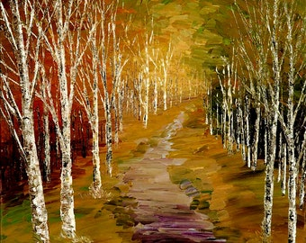 Forest Painting Palette Knife Abstract Landscape Art Handmade Original Birch Aspen Trees - by Tatiana Iliina - Made to order
