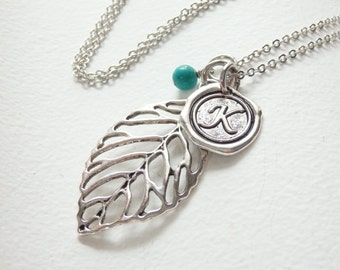 Personalized Antique LEAF Wax-Seal Monogram Long Necklace