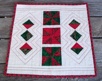 Quilted Christmas Centerpiece Mat, Candle Mat, Holiday Decoration, Red, Green, Diamond, Mini Quilt, Table Mat, OOAK