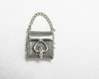 Miniature Silver Mesh Purse Pendant Charm Secret Stash Locket