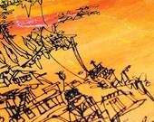 CLIFFHANGER | original silkscreen print | California beach houses | sunset orange | by Kathryn DiLego