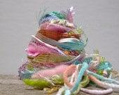 salt water taffy fringe effects™  21yds specialty ribbons fibers art yarn bundle . pink mint yellow peach pastels embellishment yarn pack