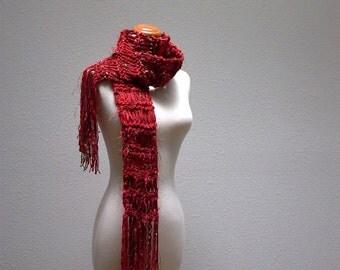chocolate covered cherries. handknit scarf . vegan friendly medium weight autumn fall fashion knit scarf . red brown